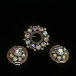 Weiss Auora Borealis Brooch and Clip Earrings
